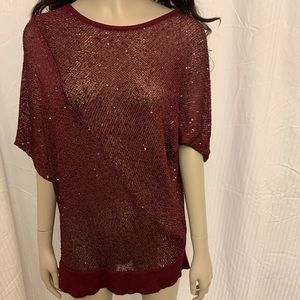 BURGANDY SHIMMER SEQUENCE SWEATER SZ:1X